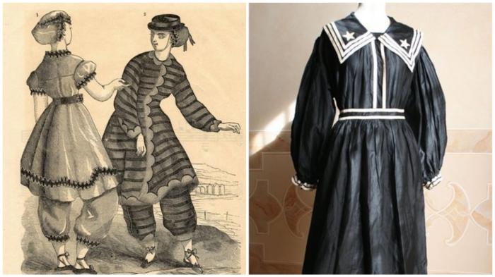 Пляжная мода 19 века: неудобно, зато прилично.