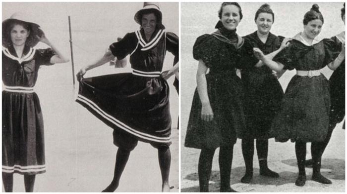 Купальники начала 20 века: всё тот же «пуританский» стиль.