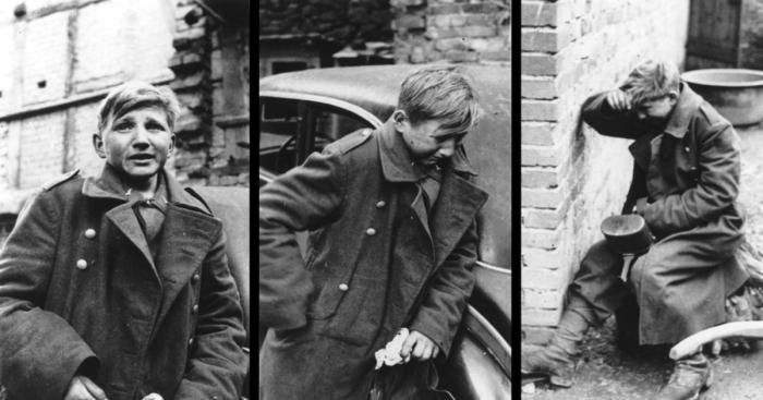 Плачущий 15-летний немецкий солдат.