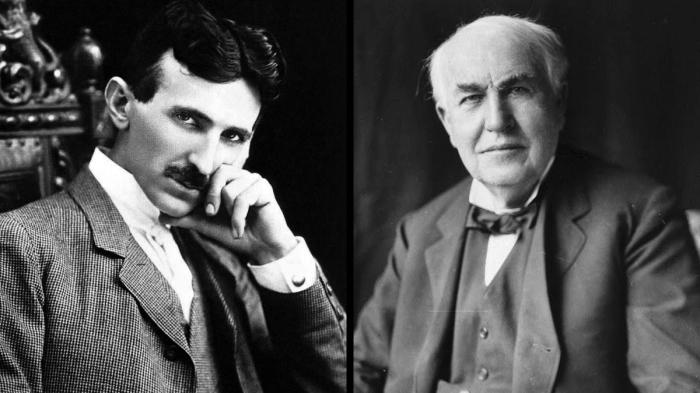 Переменный ток против постоянного, Тесла против Эдисона.
