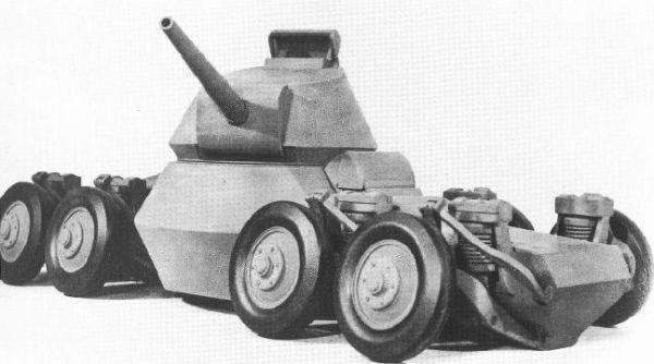 Восьмиколесный прыгающий танк.