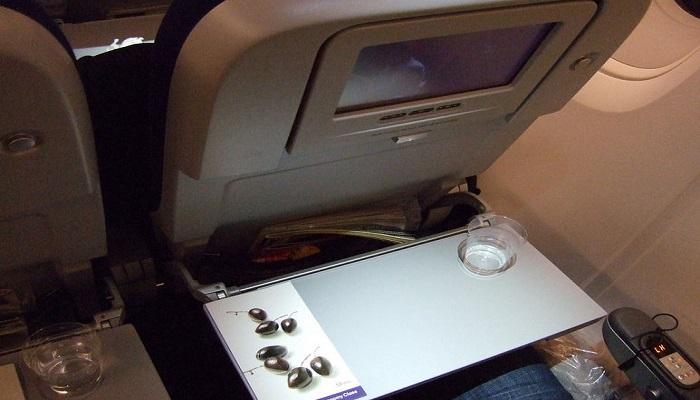 Откидные столики и кармашки кресел — одни из самых грязных предметов в самолете. / Фото: nat-geo.ru