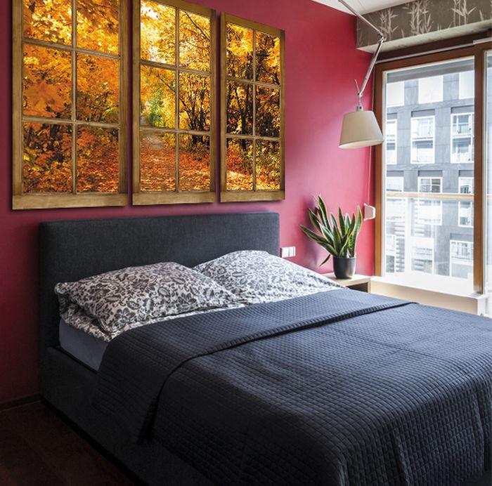 При помощи полотна или  фото с пейзажем можно обыграть маленькую спальню, кухню или холл. / Фото: dizainvfoto.ru