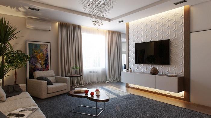 Настенное расположение телевизора. / Фото: dekoriko.ru