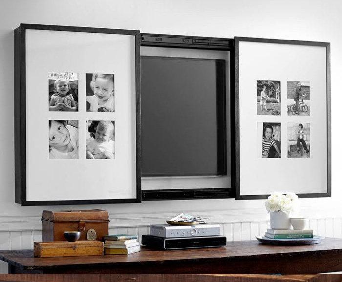 Телевизор можно спрятать за картинами. / Фото: stroitelstvo21.ru