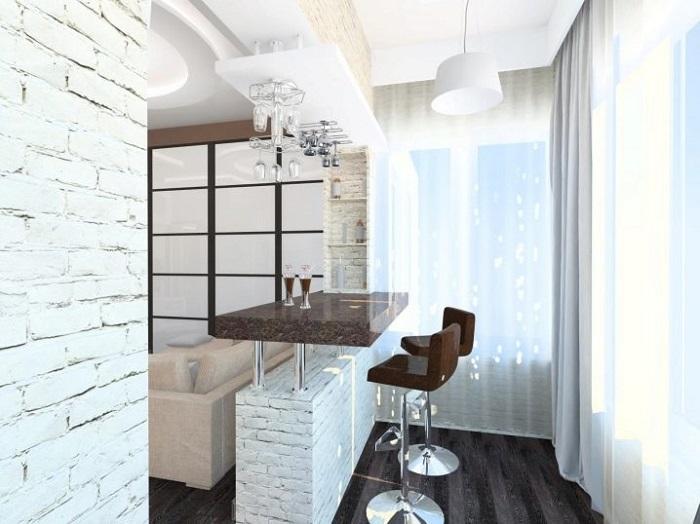 Если балкон - продолжение кухни, разместите там барную стойку. / Фото: bezkovrov.com