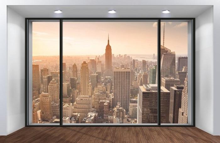 Вид на американский мегаполис, который вы получите, благодаря фотообоям. / Фото: chistoe-okno.ru