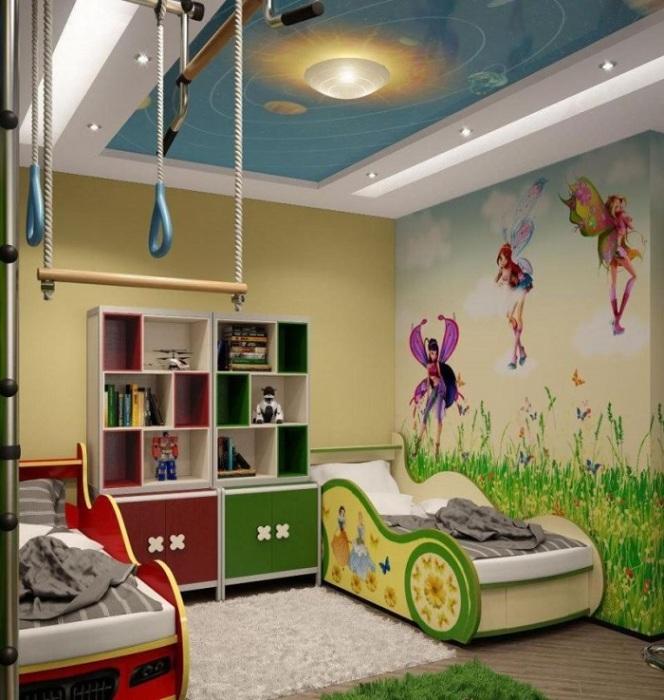 Зонирование детской при помощи фотообоев. / Фото: decorationinfo.ru