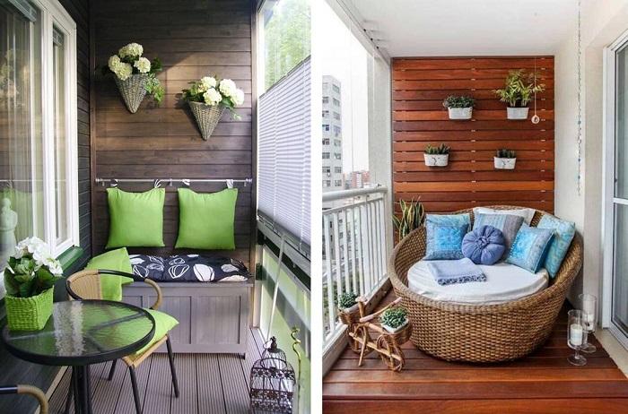 Яркие подушки и комнатные цветы сделает балкон красивым и комфортным. / Фото: desclub-training.ru