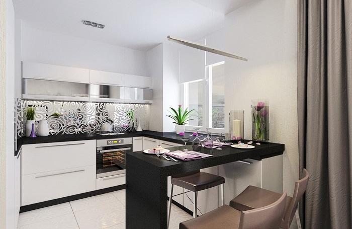 Барная стойка будет отличным вариантом замены кухонного стола. / Фото: design-homes.ru