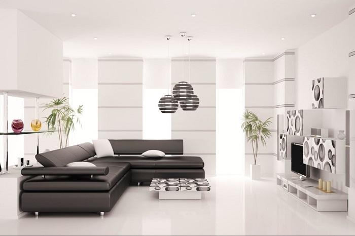 Дизайн гостиной в стиле хай тек. / Фото: designer-info.ru