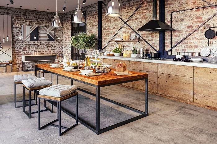 Столешница в интерьере кухни в стиле лофт. / Фото: dizainvfoto.ru