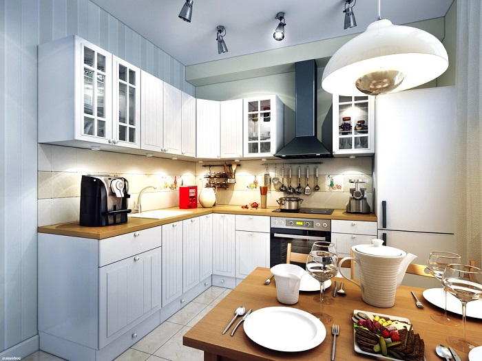 Искусственное освещение кухне должно отвечать практическим требованиям. / Фото: kuhni-altern.ru