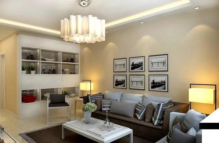 Люстра, напольные и точечные светильники станут прекрасным решением для освещения комнаты. / Фото: lednews.lighting
