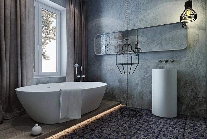 Ванная комната в стиле лофт с бетонными стенами. /Фото: loftplan.ru