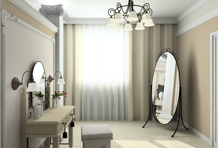Большая поверхность напольного зеркала позволяет оценить весь образ одновременно. / Фото: mebelindesign.ru