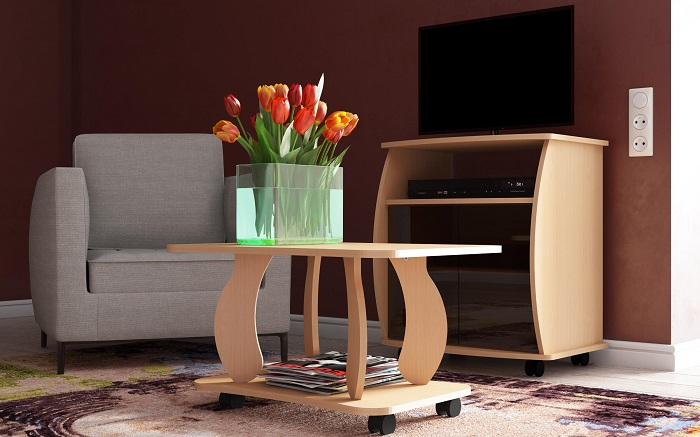 Мебель на колесиках проще перемещать. / Фото: mebelvud.ru