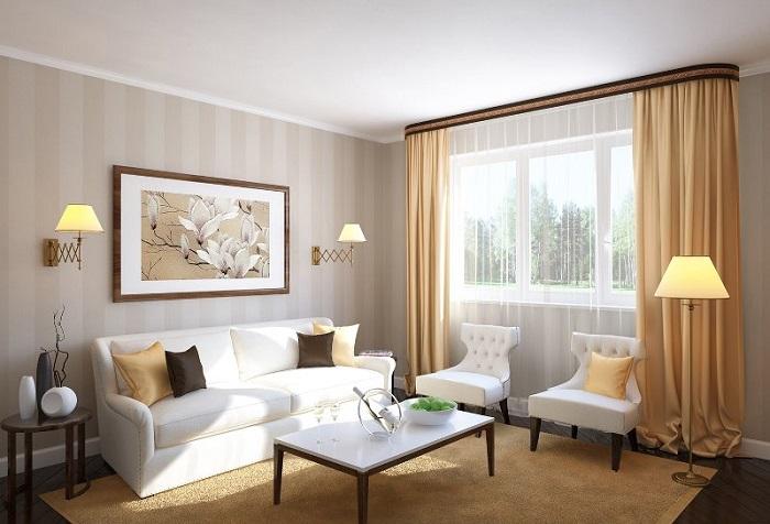 При помощи потолочных карнизов можно визуально сделать потолки в помещении более высокими. / Фото: mylambreken.ru