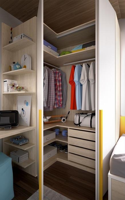 Угол - идеальное место для гардеробной комнаты. / Фото: onespace.cz