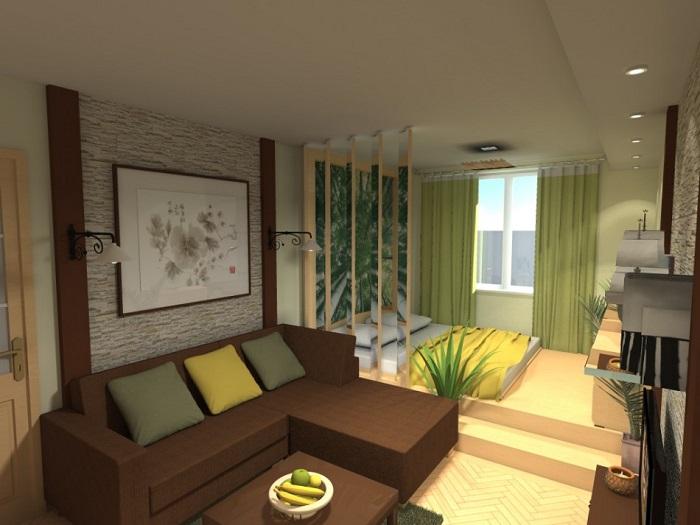 Темная мебель отлично подойдет для гостиной, а светлая - для спальни. / Фото: planirovkainfo.ru