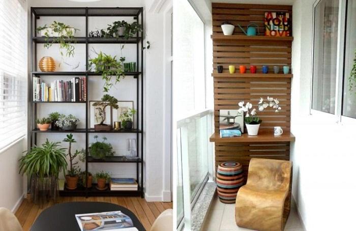 Идеальное место для хранения вещей на балконе - стеллажи. / Фото: remoo.ru