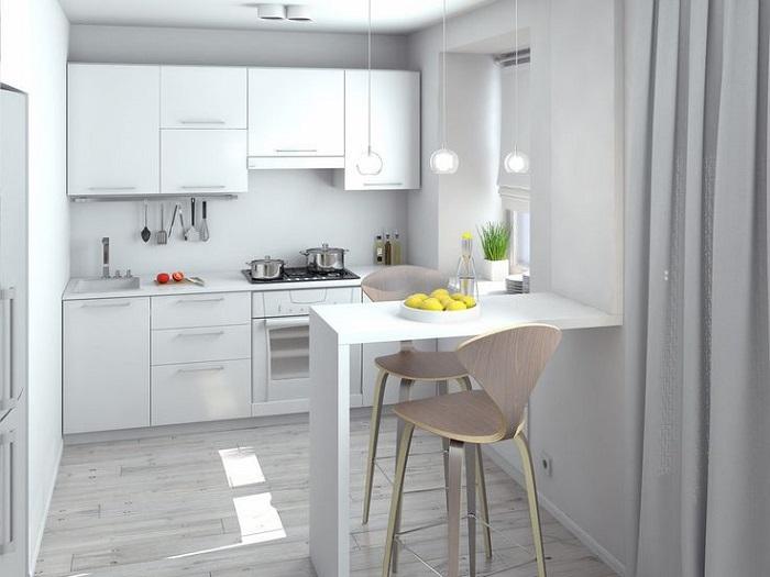 Белая кухня выглядит стильно и актуально. / Фото: salvabrani.com