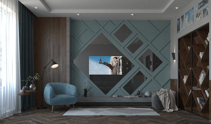 Расположение ТВ на зеркальной стене добавит комнате легкости. / Фото: tele-leto.ru