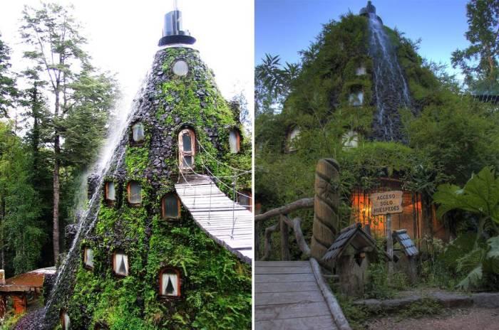 Форма конструкции напоминает вулкан. | Фото: airbnb.ru