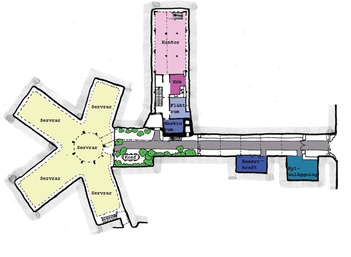 Схема современного офиса в бункере. /Фото: hbpl.co.uk