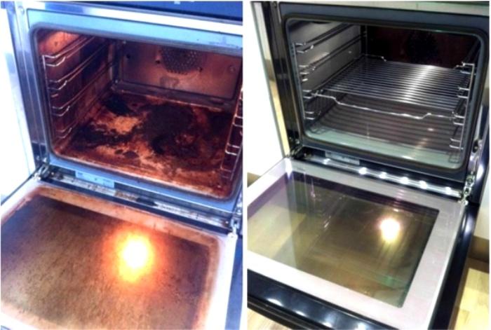 Уксус может справиться с жирным налетом в духовке. /Фото: pikabu.ru