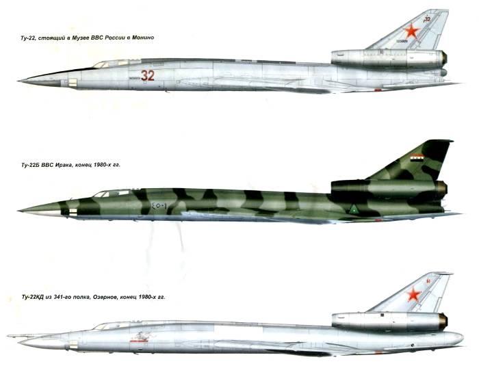 Ту-22 в различных модификациях. /Фото: topwar.ru