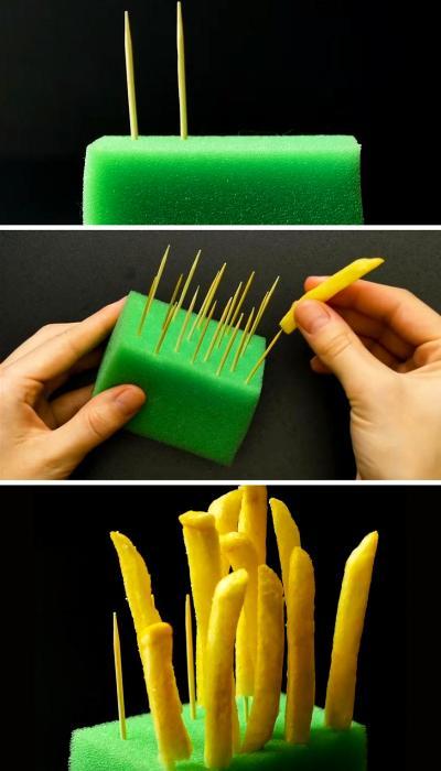 Красивой картошку фри в рекламе делает...губка с зубочистками. /Фото: klevo.net