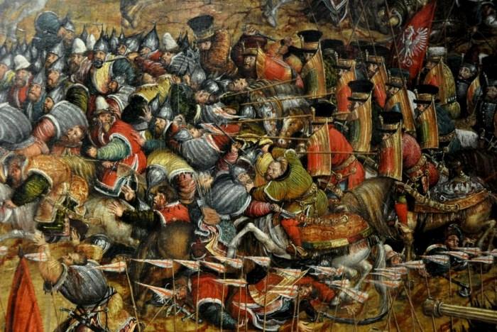 Фрагмент картины «Битва под Оршей», где четко показаны десятки воинов в бехтерцах. /Фото: warspot.ru