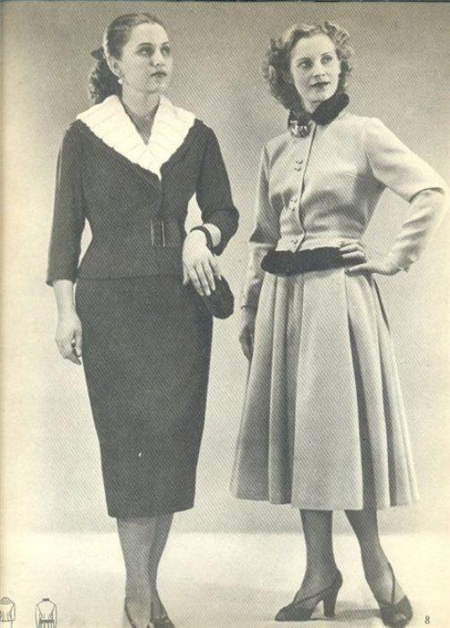 Модные образы 1955 года. /Фото: pinterest.com