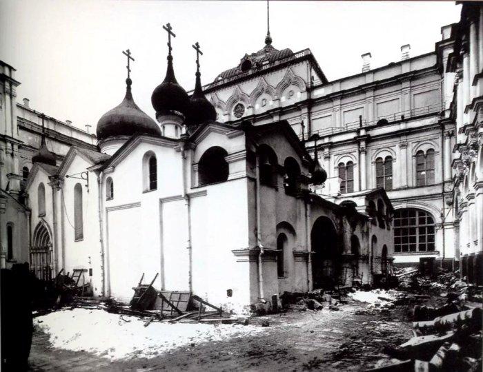 Собор во время сноса, весна 1933 года. /Фото: mos-sfera.ru