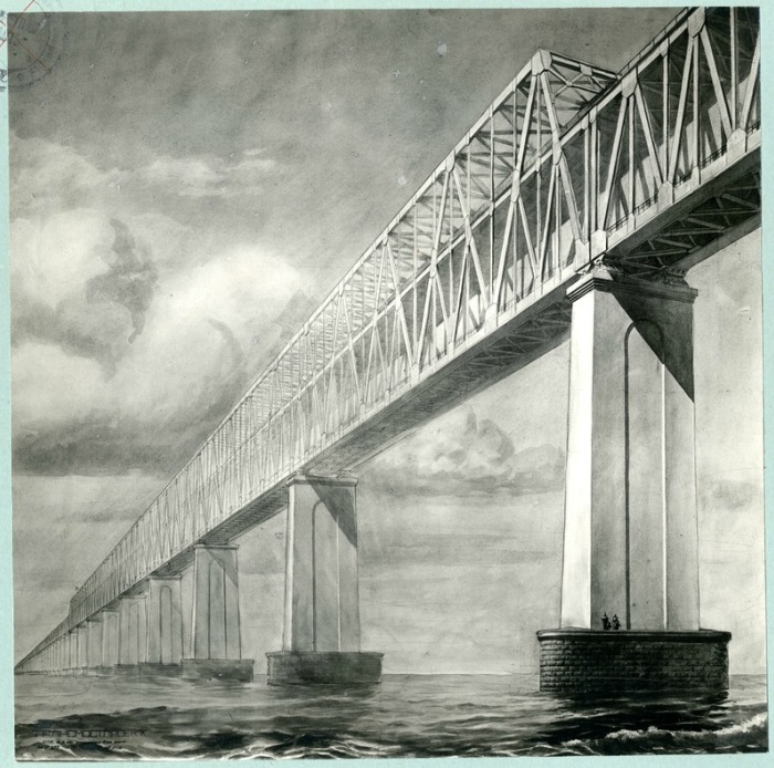 Визуализация одного из проектов моста через Керченский пролив советского периода. /Фото: livejournal.com