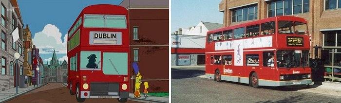 Английский двухэтажный автобус мультипликаторы в Британии не забыли нарисовать. /Фото: chronoton.ru