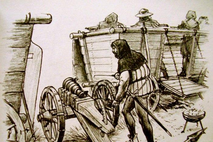 Пушка стала частью оборонительного вооружения вагенбурга. /Фото: proshloe.com