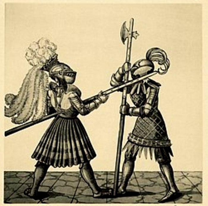 Битва на полэксах. Гравюра.  /Фото: wikipedia.org