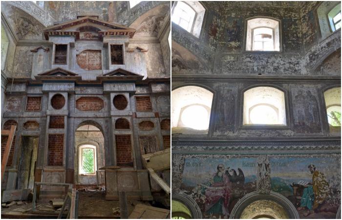 Некоторые фрески и элементы интерьера храма более-менее сохранились. /Фото: nataturka.ru