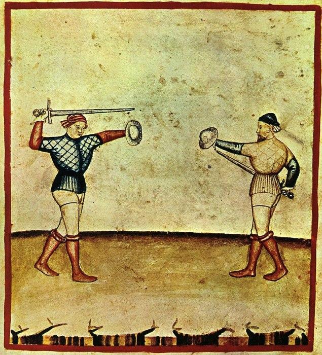 Фехтование с баклером. Миниатюра из книги Tacuinum Sanitatis, Ломбардия, 1390 г.