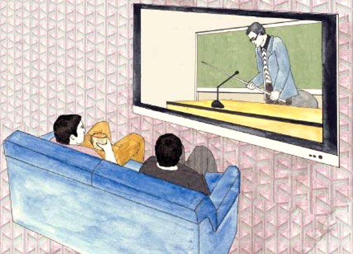 Лекции на экране монитора или телевизора. /Фото: kpi.ua