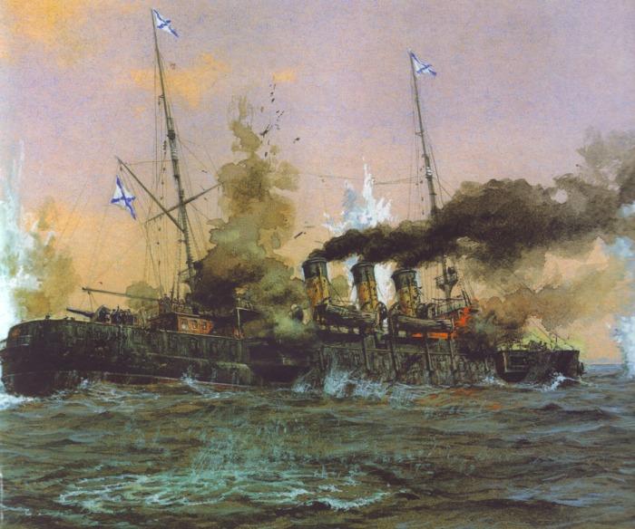 Крейсер во время сражения. /Фото: warspot.ru