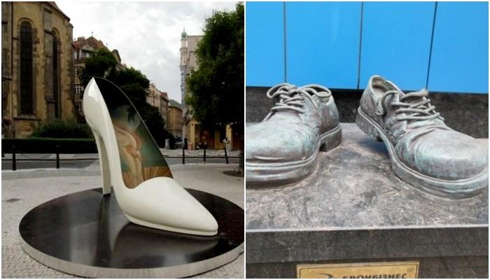 Большие пары туфель и другой обуви разбросаны по уголкам планеты. /Фото: shukach.com, pinterest.com