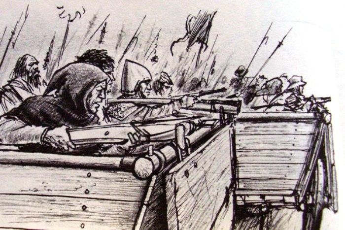 Гуситы довольно успешно применяли телеги в качестве оборонительных укреплений. /Фото: proshloe.com