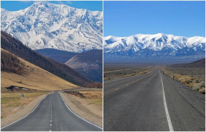 Чуйский тракт и американские шоссе очень похожи. /Фото: akkem-tur.ru, roam.ru