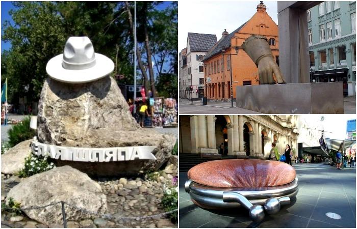 Аксессуары нашли свое место в скульптурах. /Фото: votpusk.ru, lookmytrips.com, kudago.com
