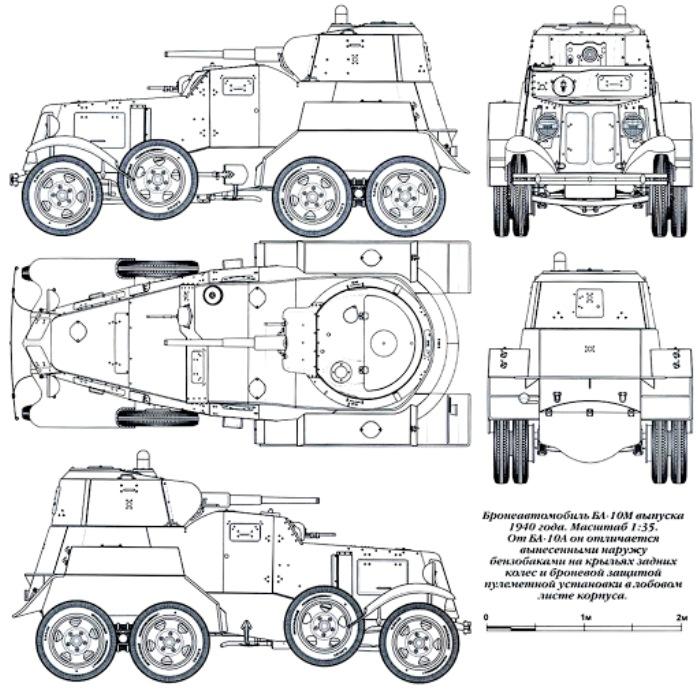 Чертеж бронеавтомобиля модификации БА-10М. /Фото: war-russia.info