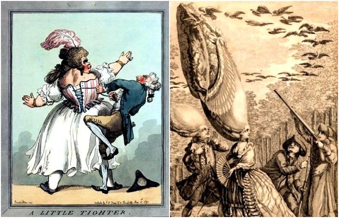 Тюрнюр, кринолин и парики: 5 элементов одежды, чья несуразность сделала их «героями» карикатур