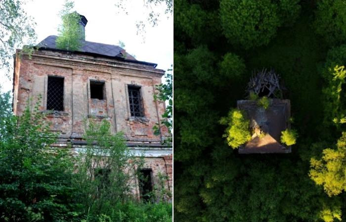 Заброшенная церковь в исчезнувшей деревне. /Фото: blogspot.com, geocaching.su